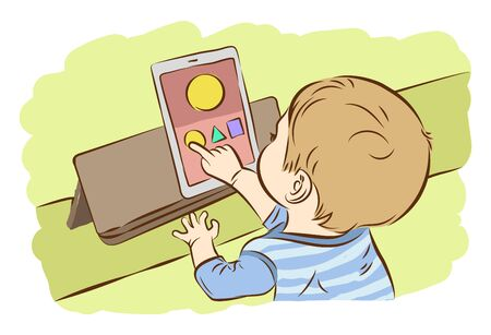 cute cartoon girl: Kids using digital tablet for playing game, Drawing vector illustration. Illustration
