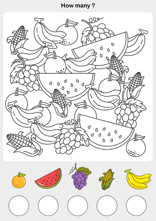 Count and painting color the fruits - write the number in the circle.  イラスト・ベクター素材