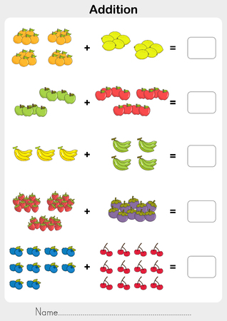 Count and addition the fruits. Then write the solutions. - worksheet for education