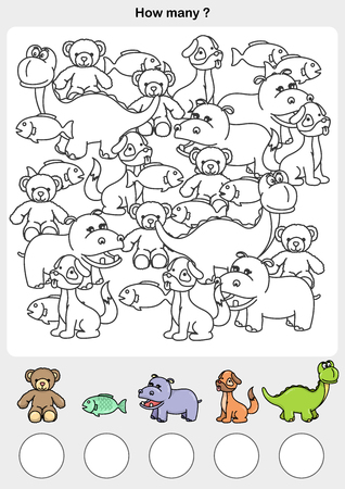 Count and painting color the animals - write the number in the circle.