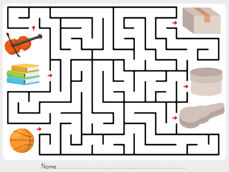 Maze game: Pick violin, books and ball to box - worksheet for education