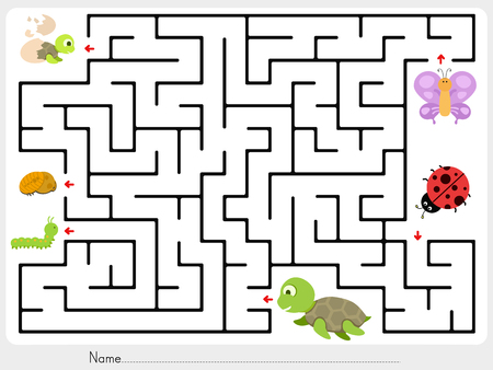 Maze game: Match animal, butterfly ladybug and turtle finding the baby - worksheet for education