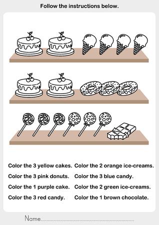 Color the picture - desserts on the shelf - worksheet for education Illusztráció