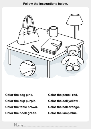 Color the picture - objects in room - worksheet for education