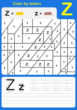 Color by letter alphabet worksheet: Color and Writing A-Z. Illustration