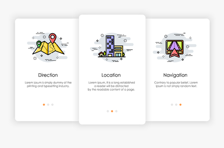 Onboarding screens design in location and direction on map concept. Modern and simplified vector illustration, Template for mobile apps.
