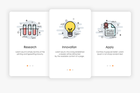 Onboarding screens design in research and innovation concept. Modern and simplified vector illustration, Template for mobile apps. Illustration