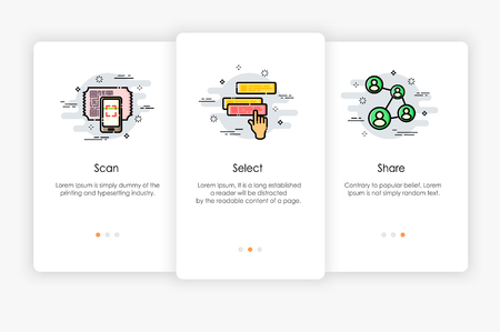 Onboarding screens design in how to use app concept. Scan Select and Share icon. Modern and simplified vector illustration, Template for mobile apps. Illustration
