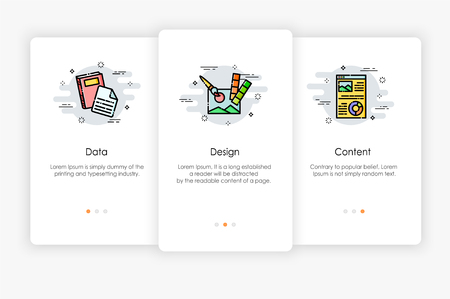 Onboarding screens design in data and content concept. Modern and simplified vector illustration, Template for mobile apps. Illustration