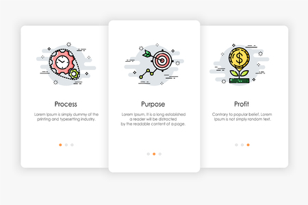 Onboarding screens design in business concept. Modern and simplified vector illustration, Template for mobile apps. Illusztráció