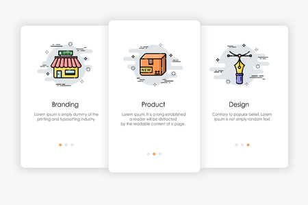 Onboarding screens design in business concept. Modern and simplified vector illustration, Template for mobile apps. Иллюстрация