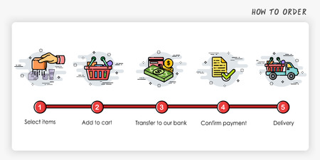 Order process concept.  Modern and simplified vector illustration.
