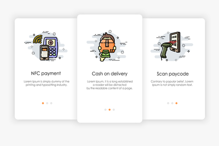 Onboarding screens design in payment concept. Modern and simplified vector illustration, Template for mobile apps.