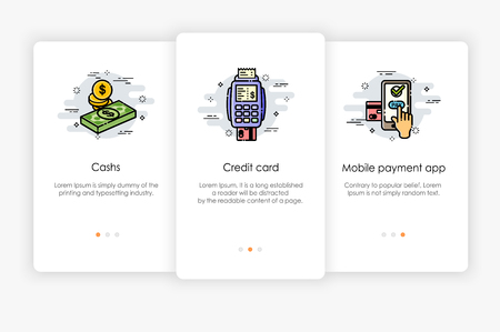 Onboarding screens design in payment concept. Modern and simplified vector illustration, Illustration