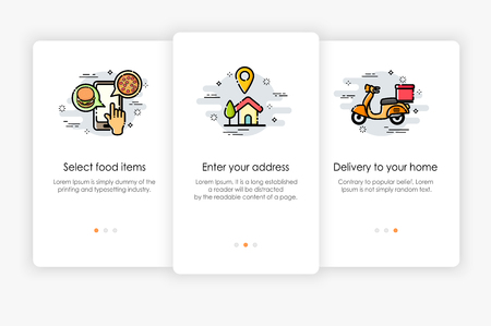 Onboarding screens design in food delivery concept. Modern and simplified vector illustration, Template for mobile apps. Illustration