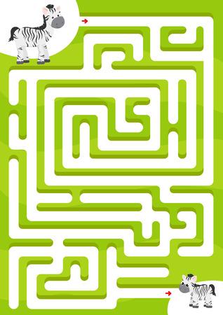 Help zebra find the son. Maze game for kids Vettoriali