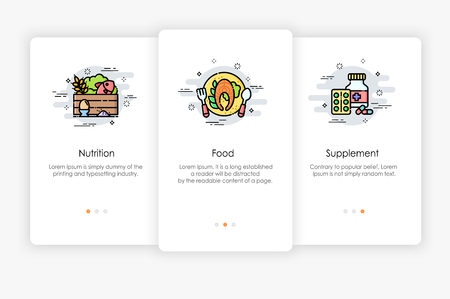 Onboarding screens design in Food concept. Modern and simplified vector illustration, Template for mobile apps. Illustration