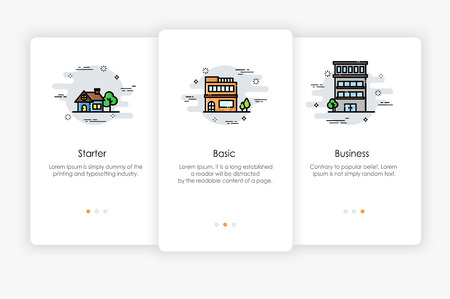 Onboarding screens design in Level concept. Modern and simplified vector illustration, Template for mobile apps.