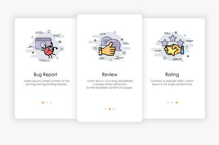 Onboarding screens design in Review and Report concept. Modern and simplified vector illustration, Template for mobile apps. Illustration
