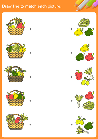Draw line to match each picture. - Worksheet for education.