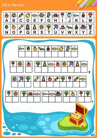 decode alphabet, Fill in the box. - Worksheet for education.