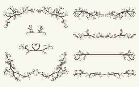 Ensemble de vecteur d'éléments décoratifs, cadre de règles de bordure et de page