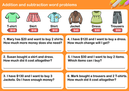 Addition and Subtraction word problems - Worksheet for education. Illustration