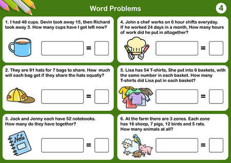 Math word problem worksheets - Sheet for exam and testing. Illustration