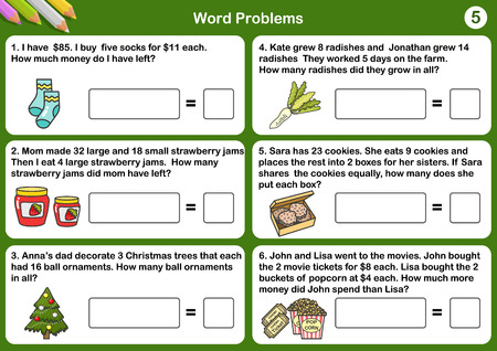 Math word problem worksheets - Sheet for exam and testing.