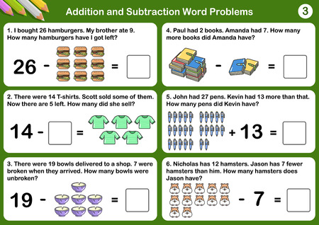 Addition and Subtraction word problems - Worksheet for education. 向量圖像