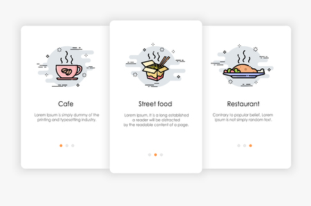 Onboarding screens design in food concept. Modern and simplified vector illustration, Template for mobile apps. Vektoros illusztráció