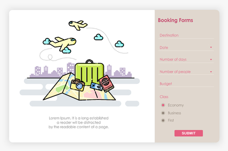 Onboarding screens design in Travel booking form and icon. Modern and simplified vector illustration, Template for Website and apps. Иллюстрация