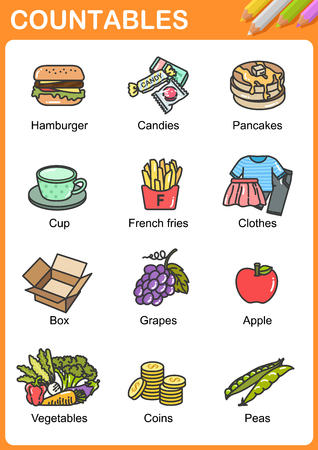 Nouns the can be  countable - Worksheet for education. Иллюстрация
