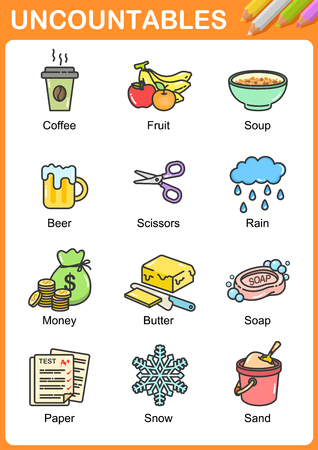 Nouns the can be uncountable - Worksheet for education.