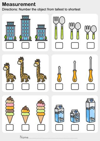 Measurement worksheet - Number the object from tallest to shortest - Worksheet for education. Ilustração