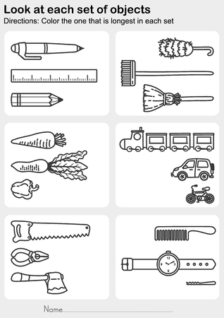 Look at each set of objects - Color the one that is longest in each set - Worksheet for education.