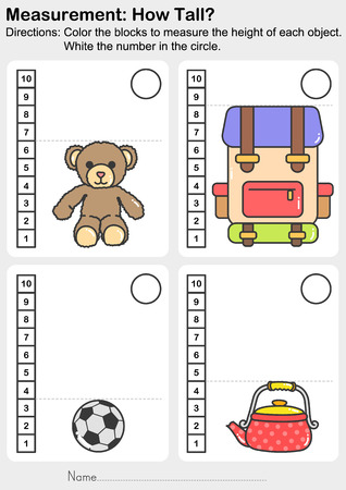 Measurement worksheet - Color the blocks to measure the height of each animal. White the number in the circle. - Worksheet for education. Ilustração