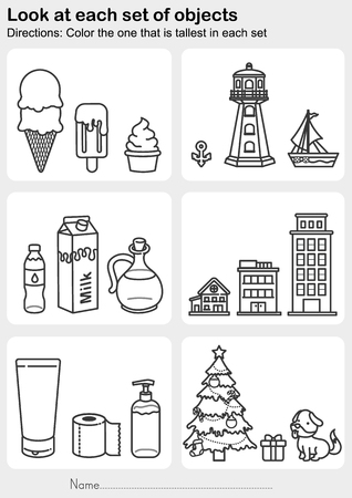 Look at each set of objects - Color the one that is tallest in each set - Worksheet for education.