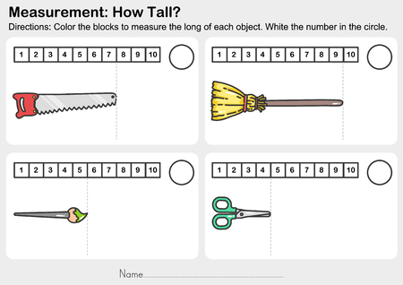 Measurement worksheet - Color the blocks to measure the long of each object. White the number in the circle. - Worksheet for education.