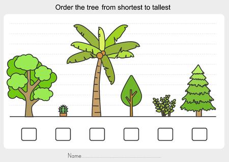 Foglio di lavoro delle misurazioni - Ordina l'albero dal più corto al più alto. - Foglio di lavoro per l'istruzione.