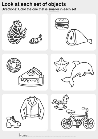 Look at each set of objects -  Color the one that is smaller in each set - Worksheet for education. Ilustração