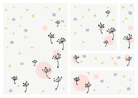 Memphis design background vector template - Dandelion theme