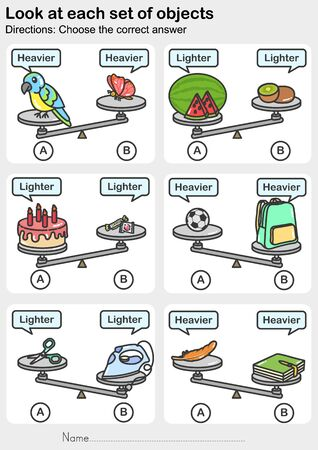 Weight measurement worksheet, Look at each set of objects. Choose the correct answer. Worksheet for education. Ilustração