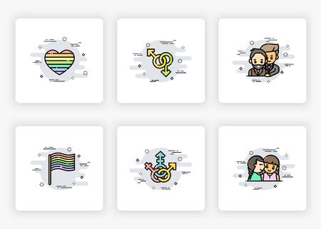 On boarding screens design in homosexuality (LGBT) concept. Modern and simplified vector illustration, Template for mobile apps.