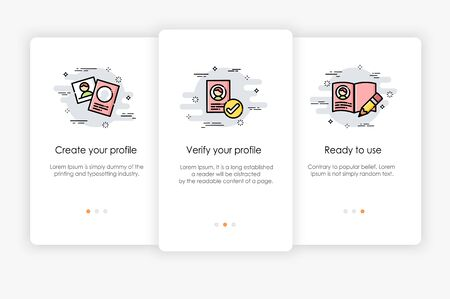 On boarding screens design in profile concept. Modern and simplified vector illustration, Template for mobile apps.