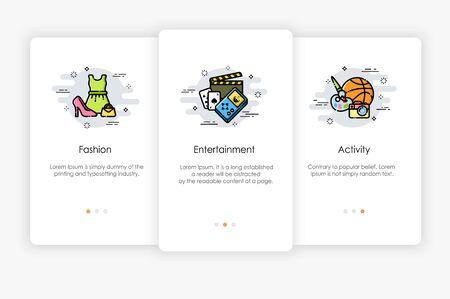 Onboarding-Bildschirme im Lifestyle-Konzept. Moderne und vereinfachte Vektorillustration, Vorlage für mobile Apps. Vektorgrafik