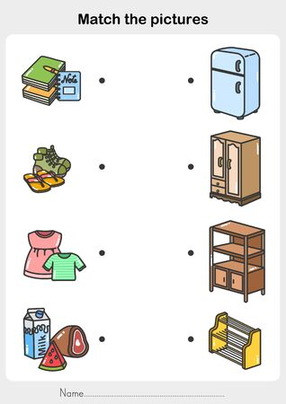 Match object with the Storage - Worksheet for education