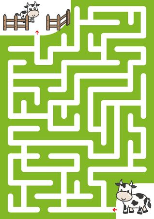 Doolhofspel: Help de koe de weg naar het kalf te vinden. - Werkblad voor het onderwijs Vector Illustratie