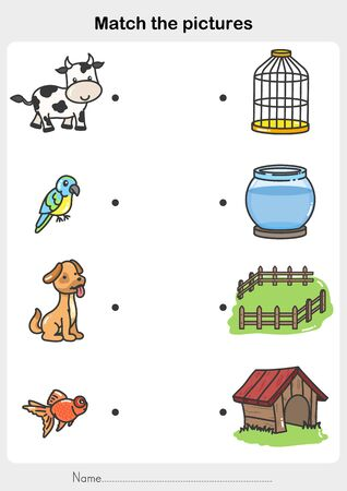 Match animal with the cage - Worksheet for education