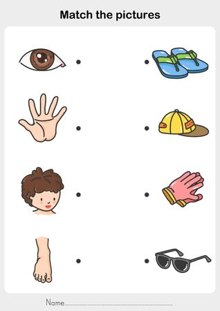 Match human body with the object - Worksheet for education